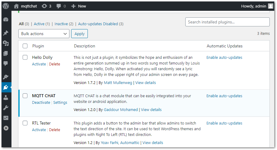 mqtt chat wordpress plugin install