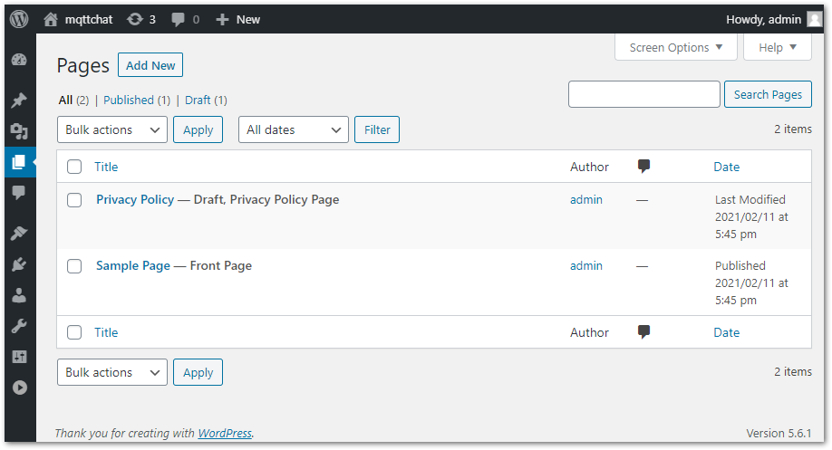 mqtt chat wordpress plugin integration